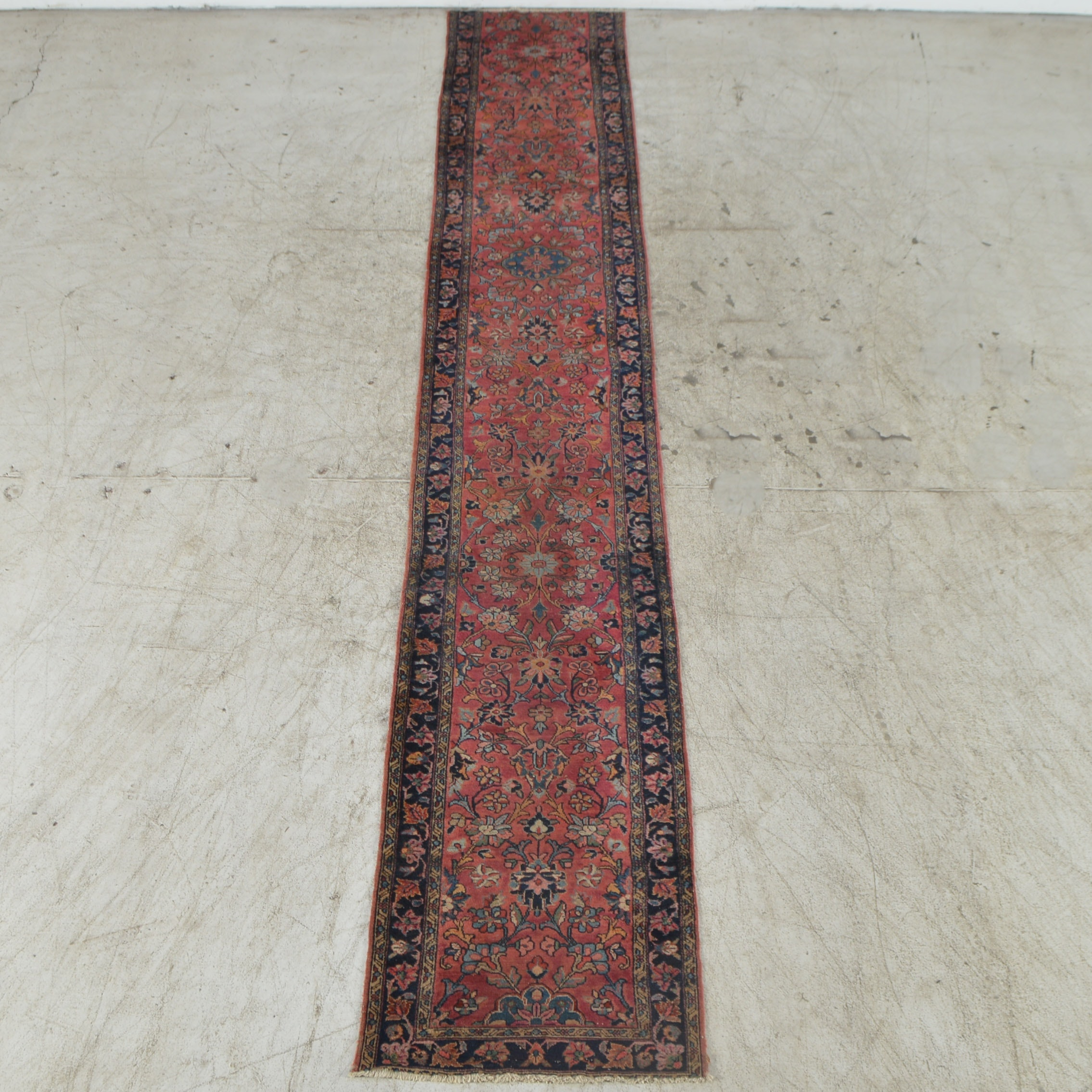 Extra Long Antique Hand-Knotted Persian-Inspired Carpet Runner