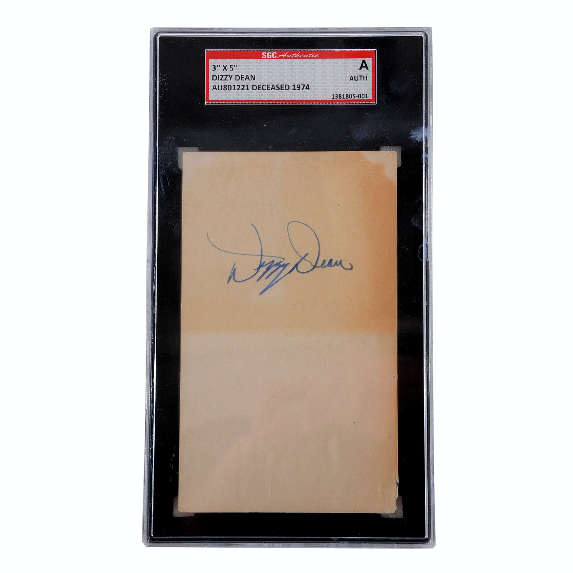 Dizzy Dean Signed Cut Signature Slabbed By SGC
