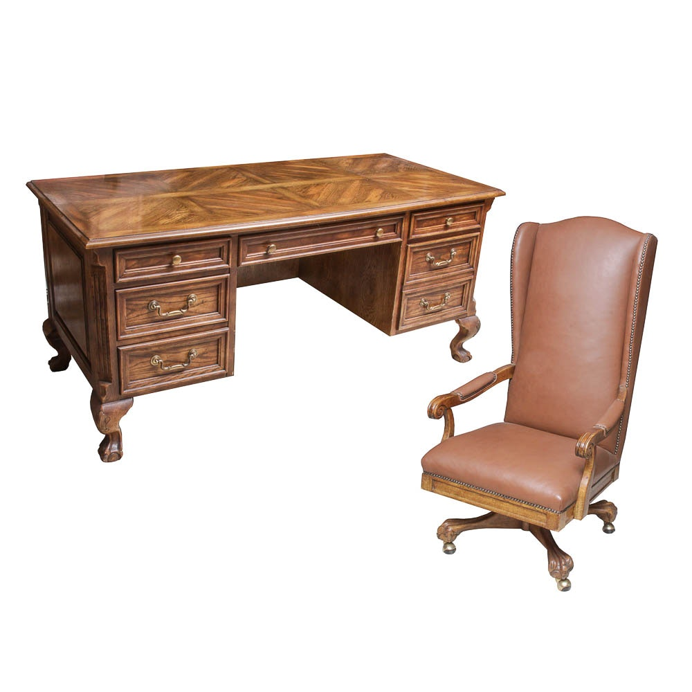 Chippendale Style Executive's Desk and Rolling Office Chair