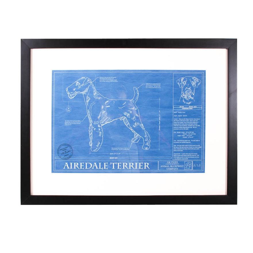 Framed airedale terrier blueprint ebth framed airedale terrier blueprint malvernweather Gallery