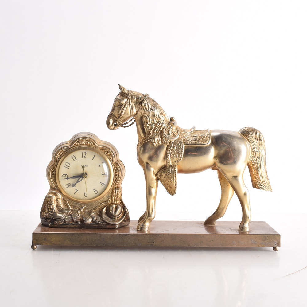 Western Horse-Themed Mantel Clock by United