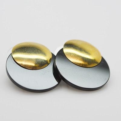 14K Yellow Gold Onyx Disk Pierced Earrings