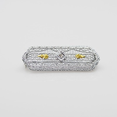 14K White and Yellow Gold Diamond Filigree Brooch