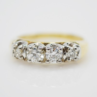 14K Yellow and White Gold 0.30 CTW Diamond Ring