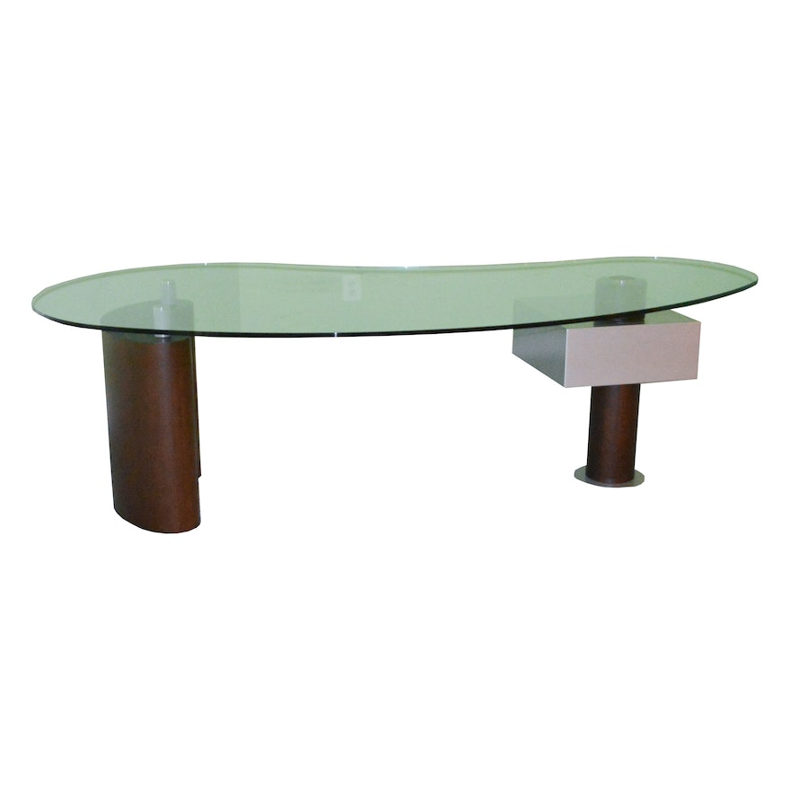Contemporary Kidney Shaped Gl Top Desk