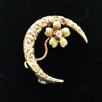 Victorian 14K Yellow Gold Diamond Crescent Flower Brooch