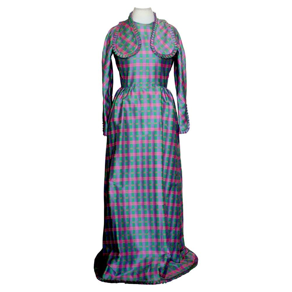 1970s Geoffrey Beene Plaid Silk Maxi Dress
