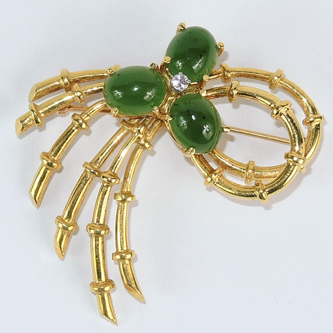 Heavy 18K Gold Brooch with Green Stones and a Diamond