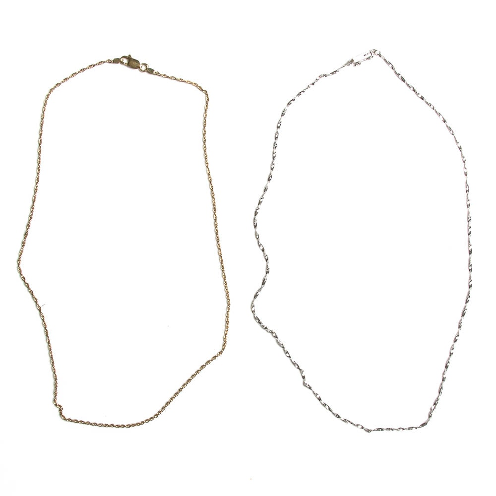 Gold Necklace And White Gold Necklace