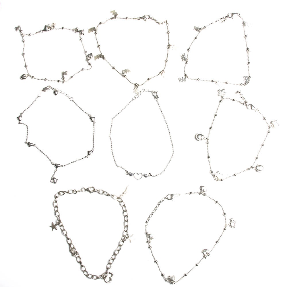 Selection of Sterling Silver Ankle Bracelets with Charms