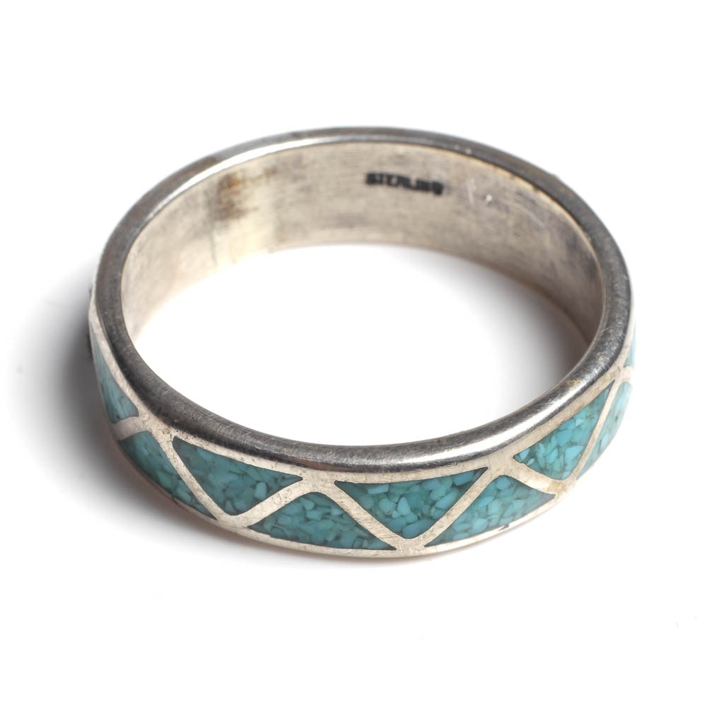 Large Sized Sterling and Turquoise Ring