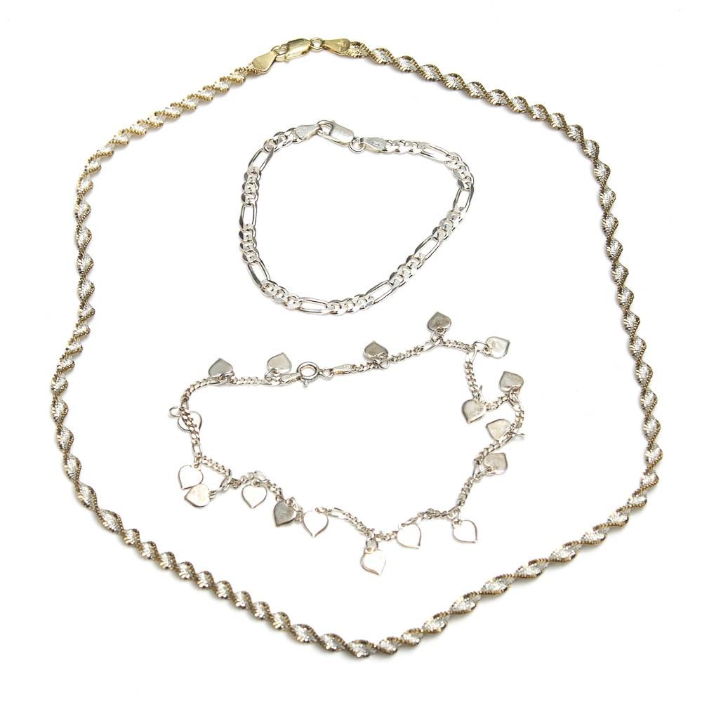 Sterling Silver Necklace, Anklet and Bracelet