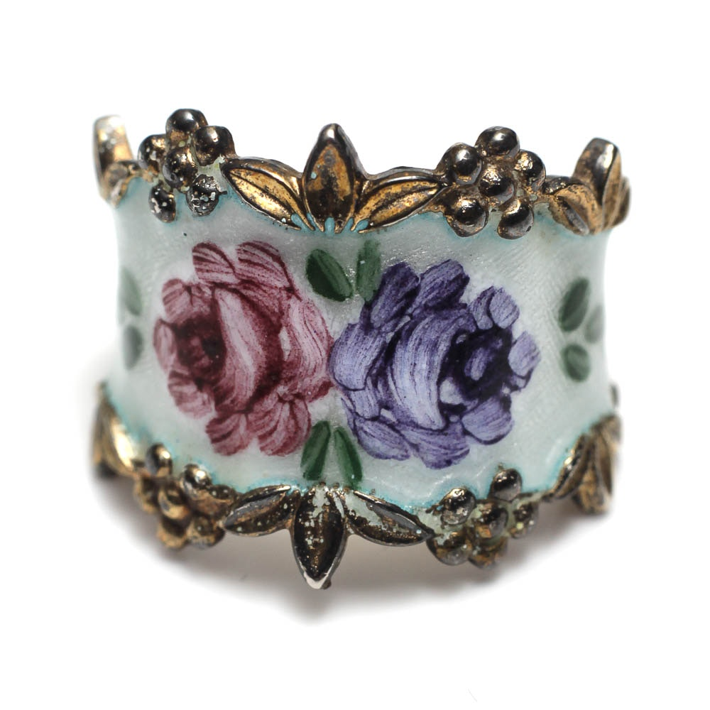Sterling and Enamel Ring With Hand Painted Flowers