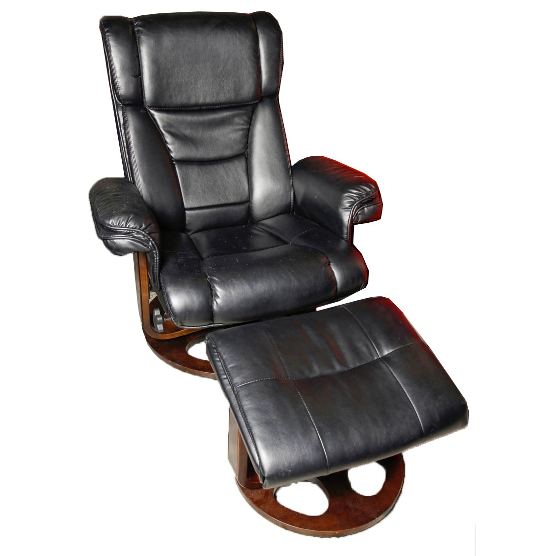 Faux Leather Reclining Chair and Ottoman