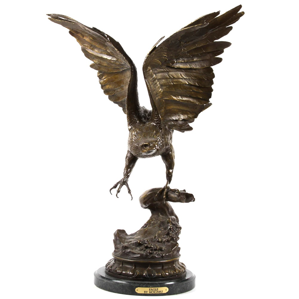 Bronze Eagle Sculpture after Jules Moigniez (French, 1835-1894)