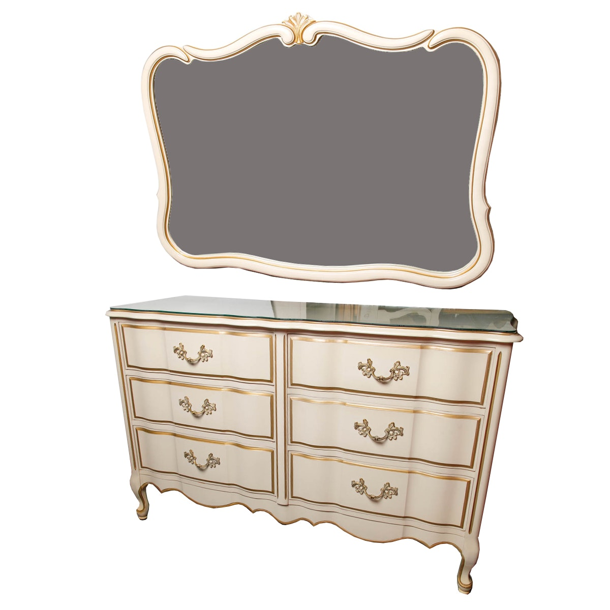 French Provincial Style Dresser and Mirror