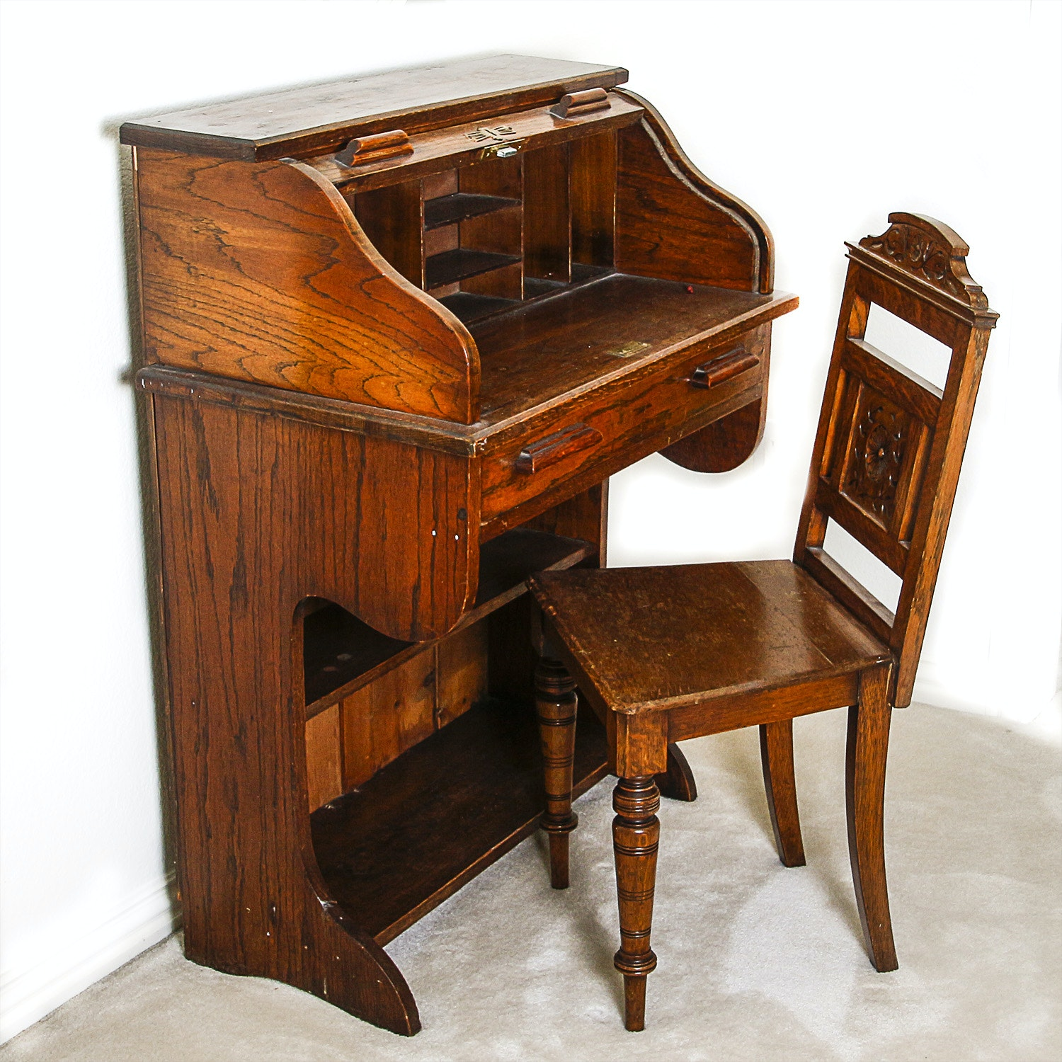 Vintage Roll Top Secretary Desk and Chair