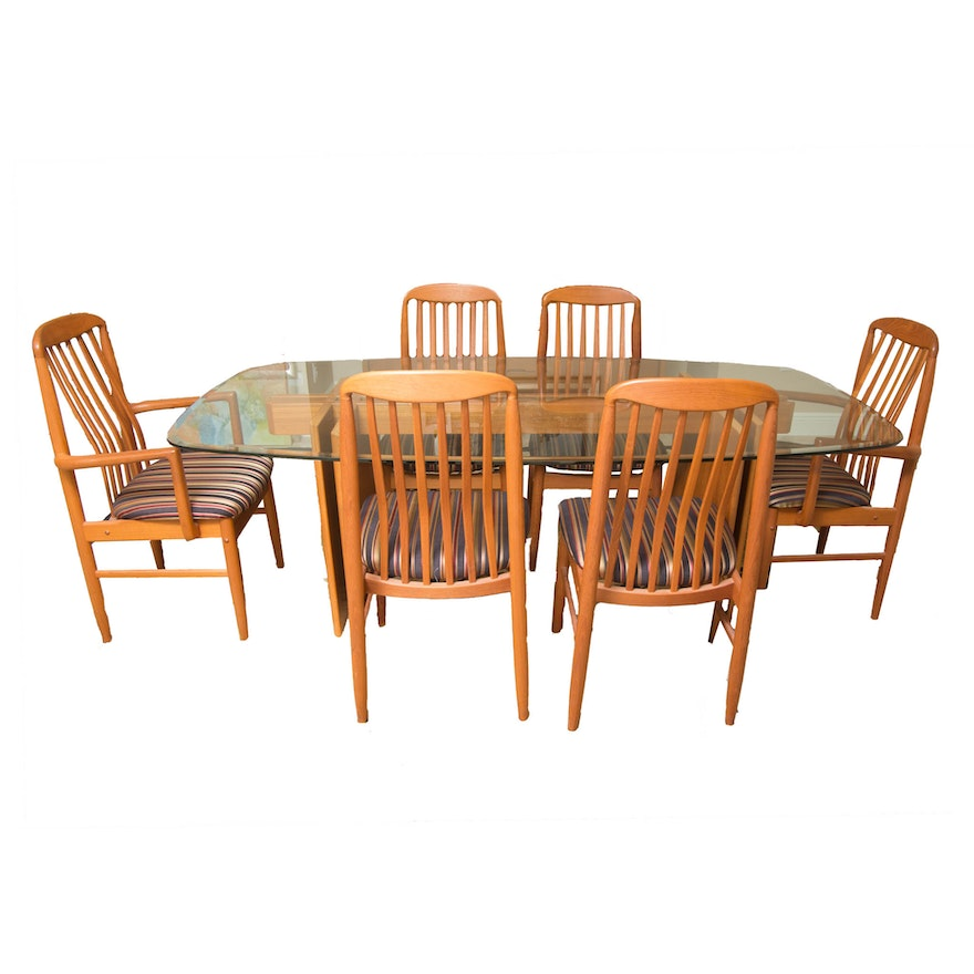 Danish Modern Glass Top Teak Dining Table With Chairs