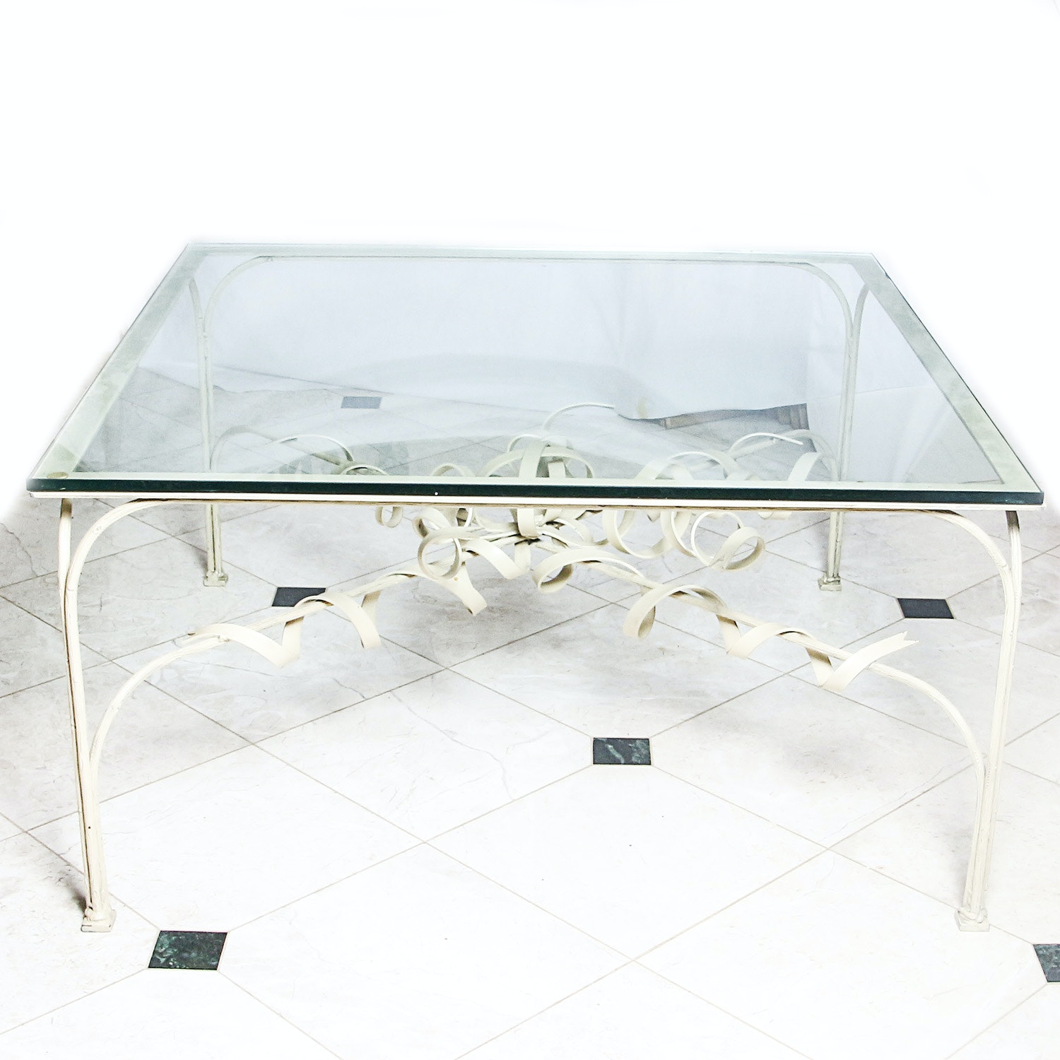 Metal Coffee Table with Glass Top