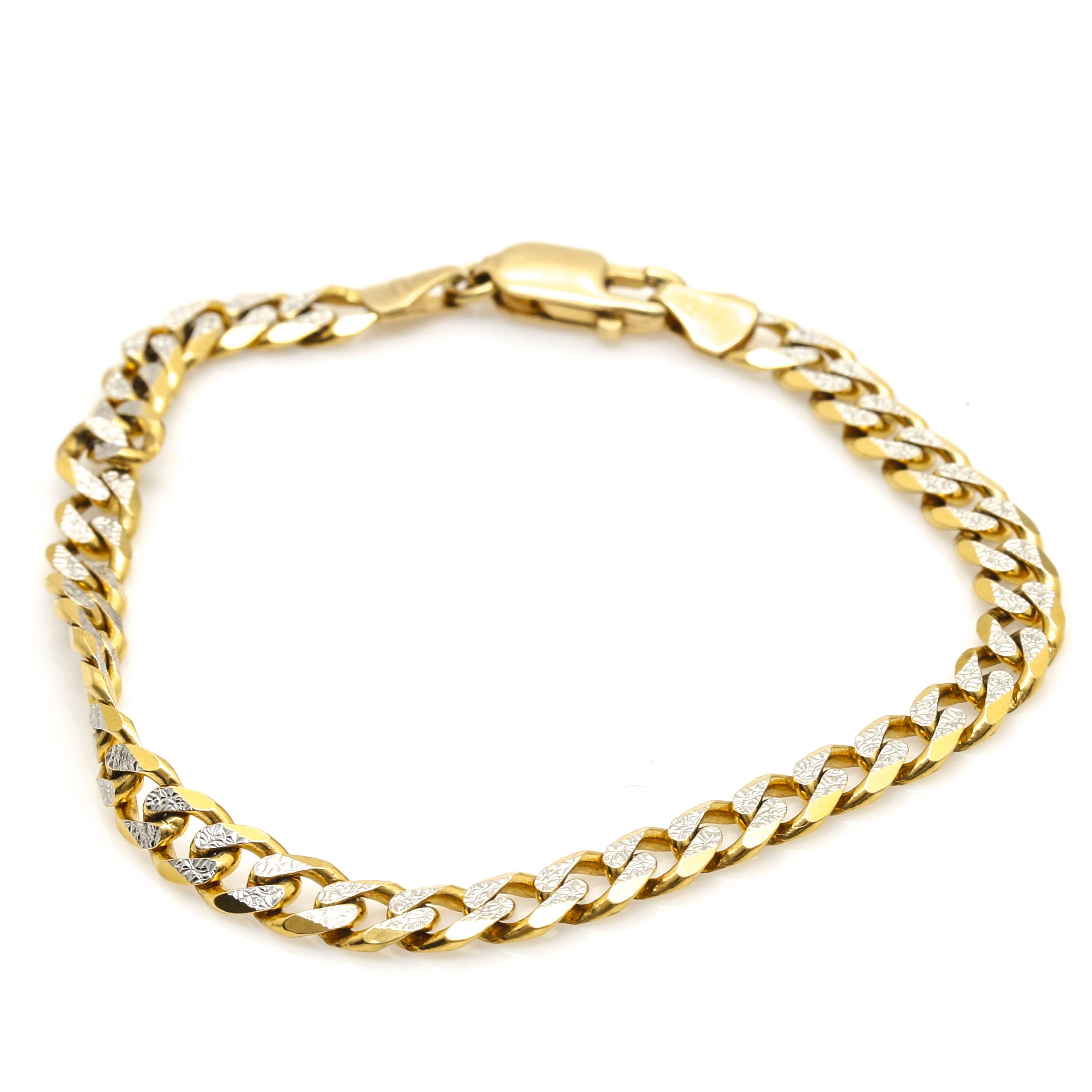 18K Two Tone Gold Curb Chain