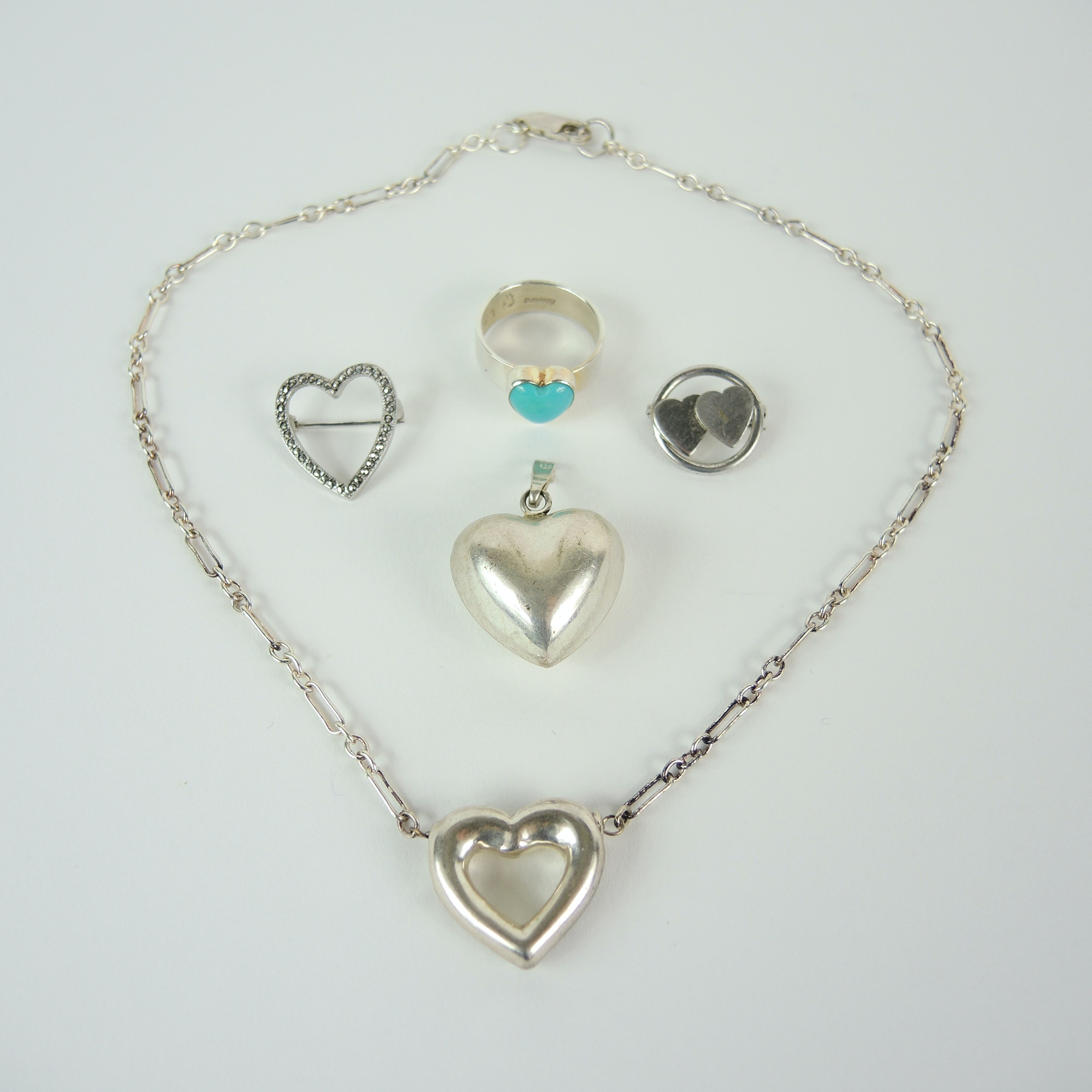 Sterling Silver Heart Themed Jewelry