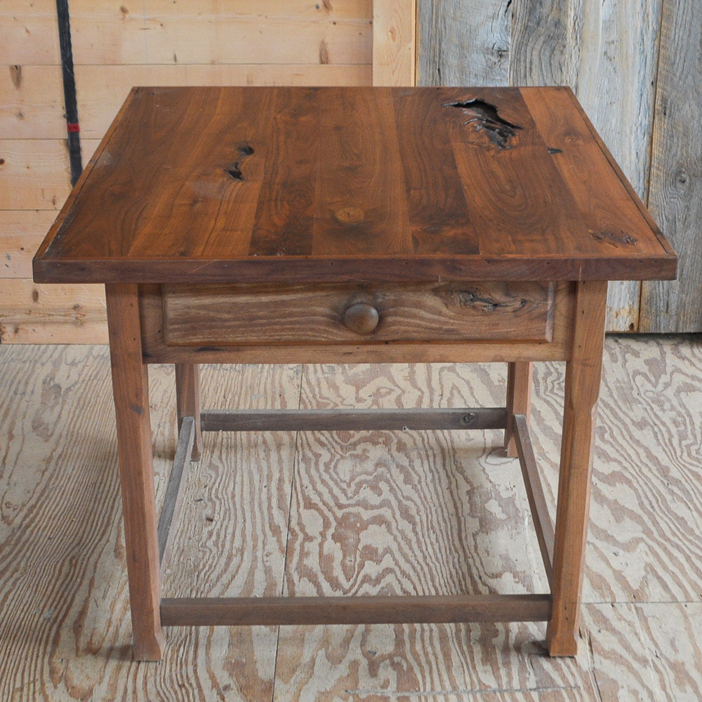 Handcrafted Reclaimed Black Walnut Side Table