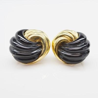 14K Yellow Gold Onyx Pierced Earrings