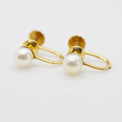 14K Yellow Gold Cultured Pearl Screw Back Clip-On Earrings