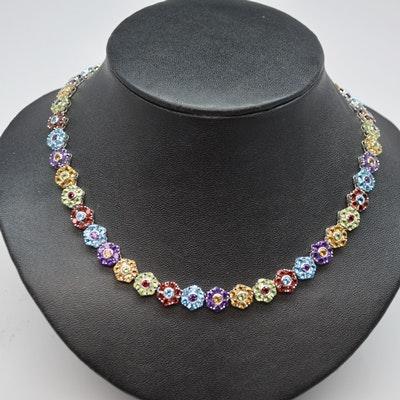 14K White Gold Gemstone Floral Necklace