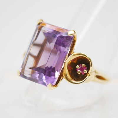 14K Yellow Gold 10.01 CTS Amethyst and Ruby Lily Motif Ring