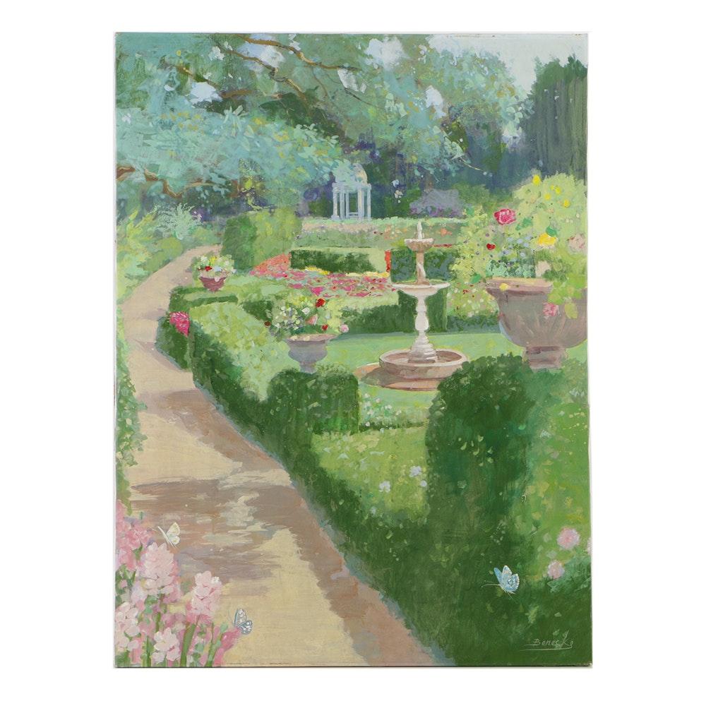 "William Benecke Oil Painting on Canvas ""Sunny Garden Walk"""