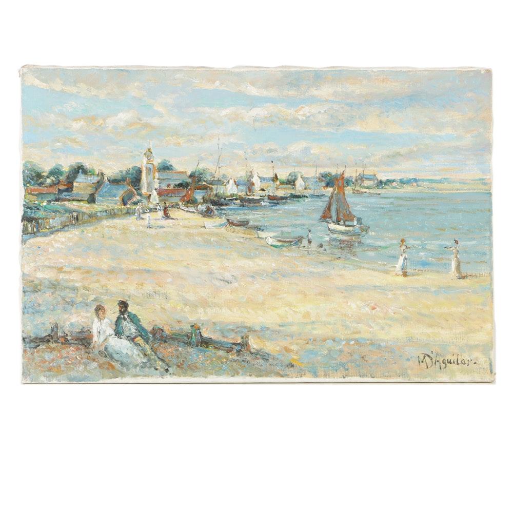 "Michael D'Aguilar Oil Painting on Canvas ""Harbor Scene"""