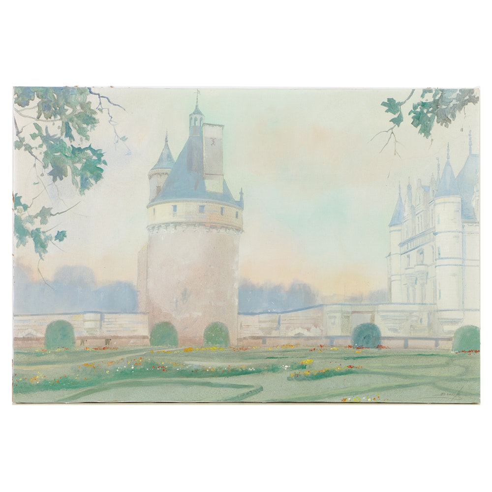 """William Benecke Oil Painting on Canvas """"Chenonceau Loire Valley"""""""