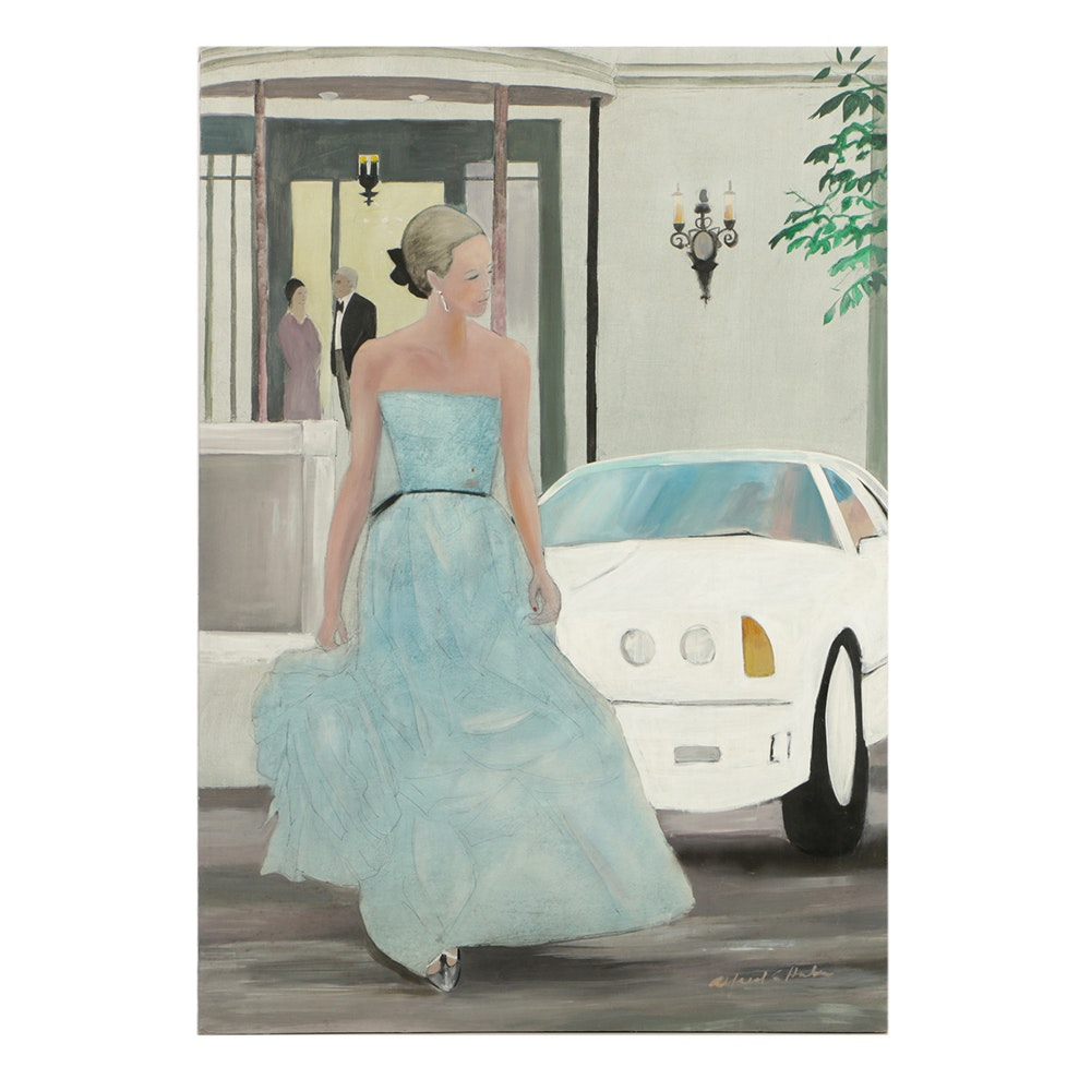 Alfred G. Huber Mixed Media on Canvas Girl and a Sports Car