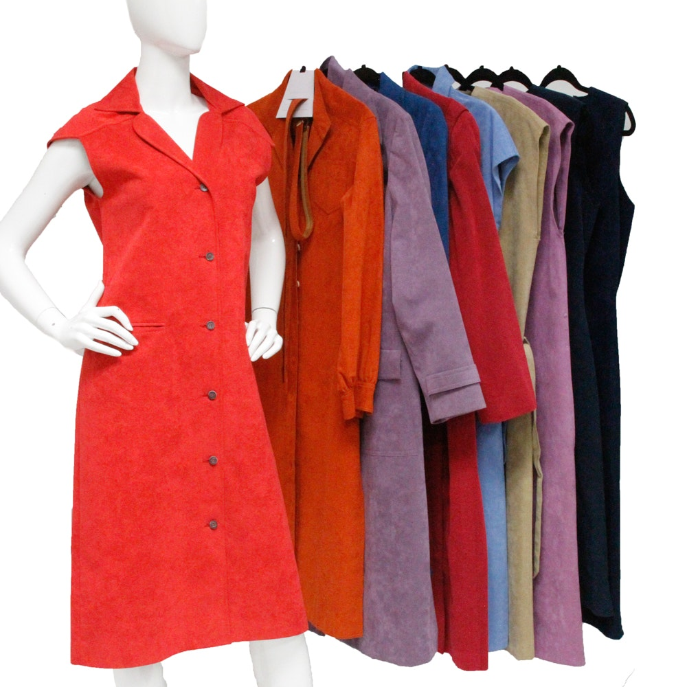 1970s Boho Suede and Ultrasuede Dress Collection Including Bill Blass Blassport