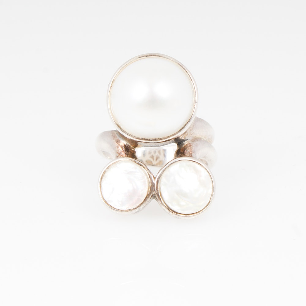 Sterling Silver Mabe and Biwa Pearl Ring
