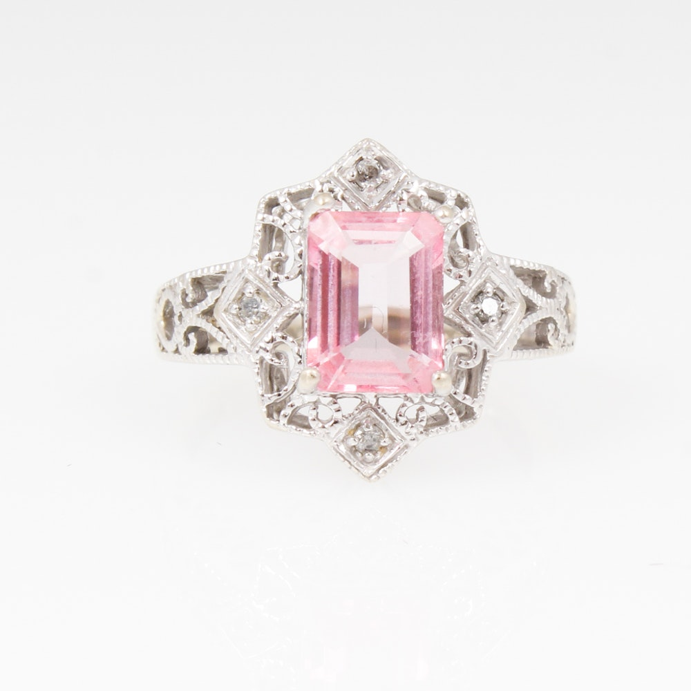 14K White Gold Pink Topaz and Diamond Ring
