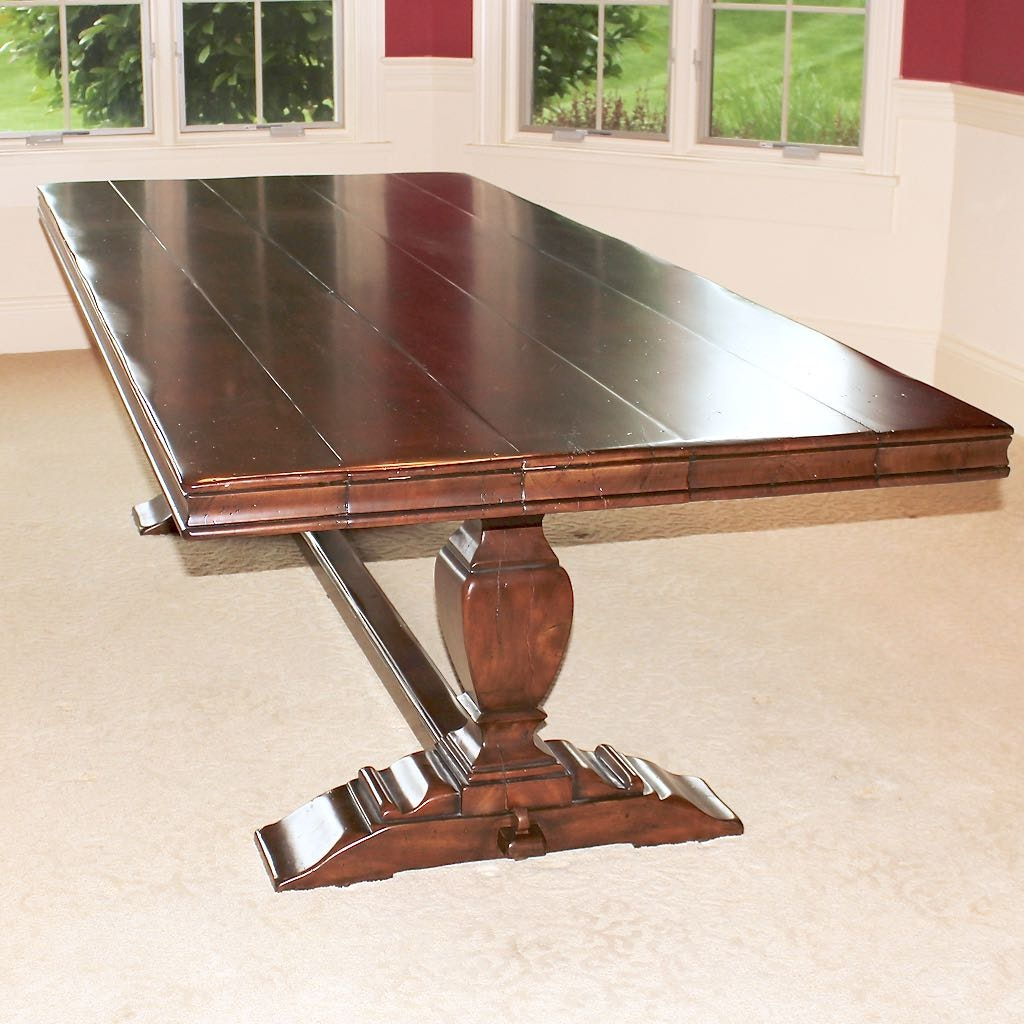 Theodore Alexander Large Wood Dining Table with Trestle Base