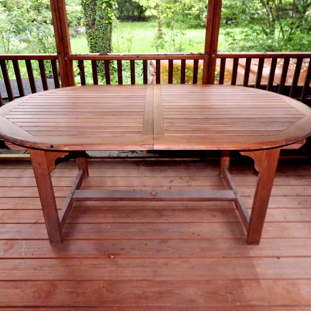 Expandable Teak Oval Patio Dining Table