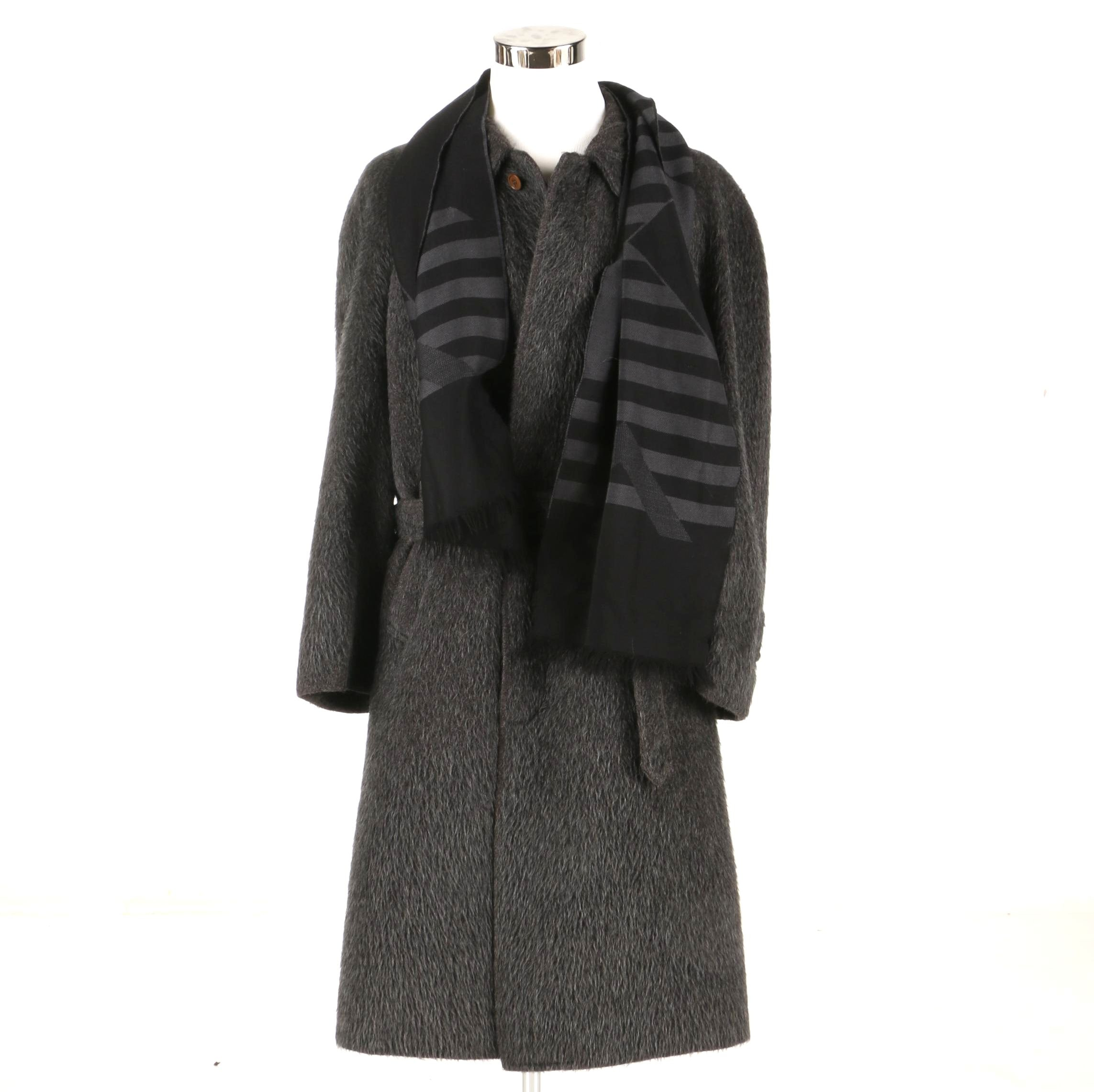 Benvenuto Cellini Men's Alpaca Coat With Scarf