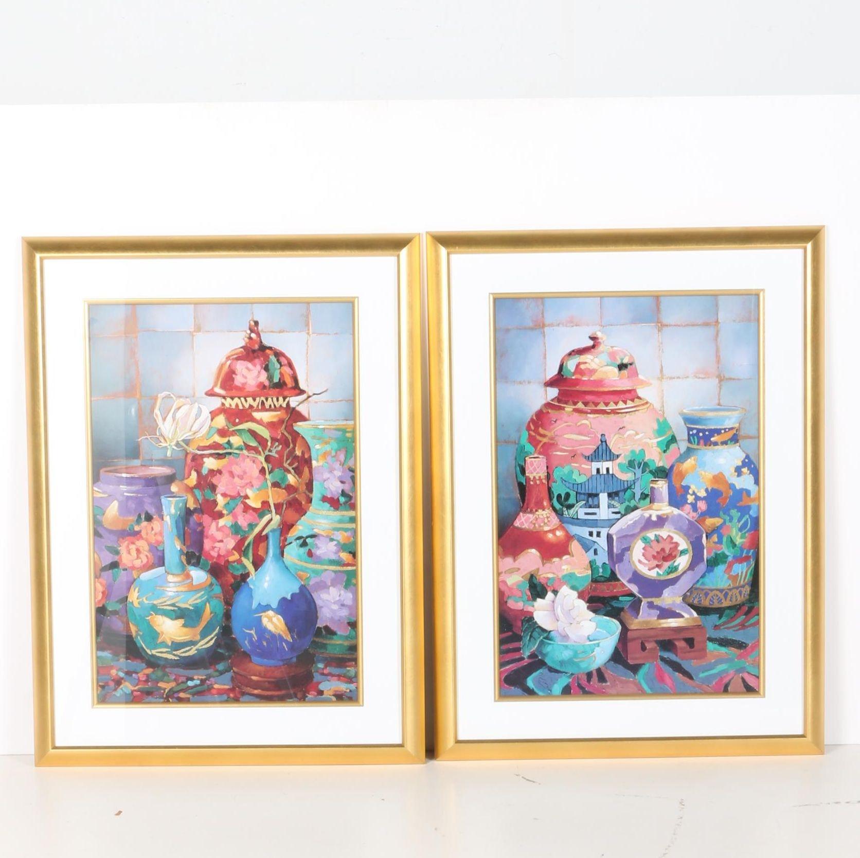 Framed Still Life Offset Lithographs on Paper