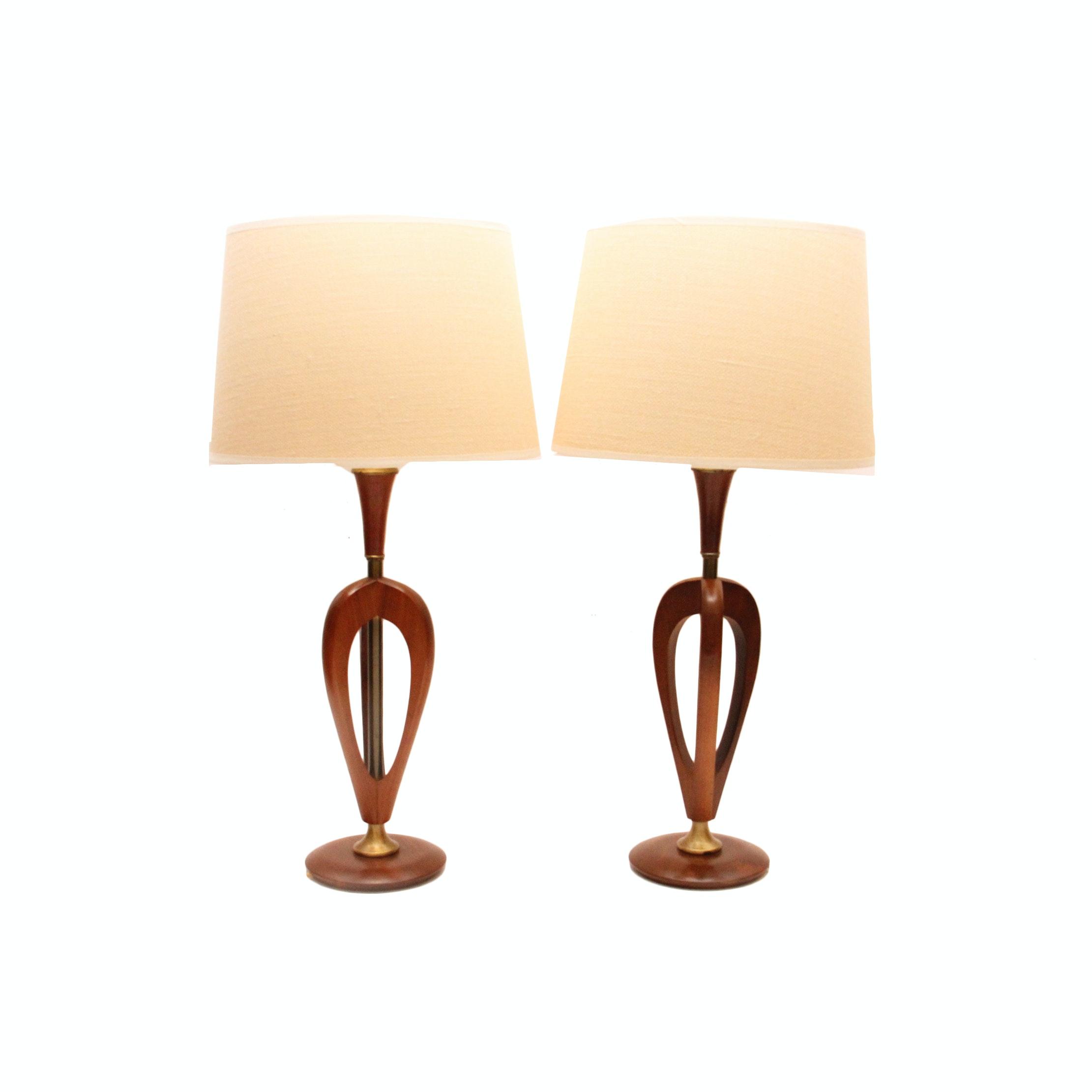 Mid Century Modern Sculptural Wood Lamps