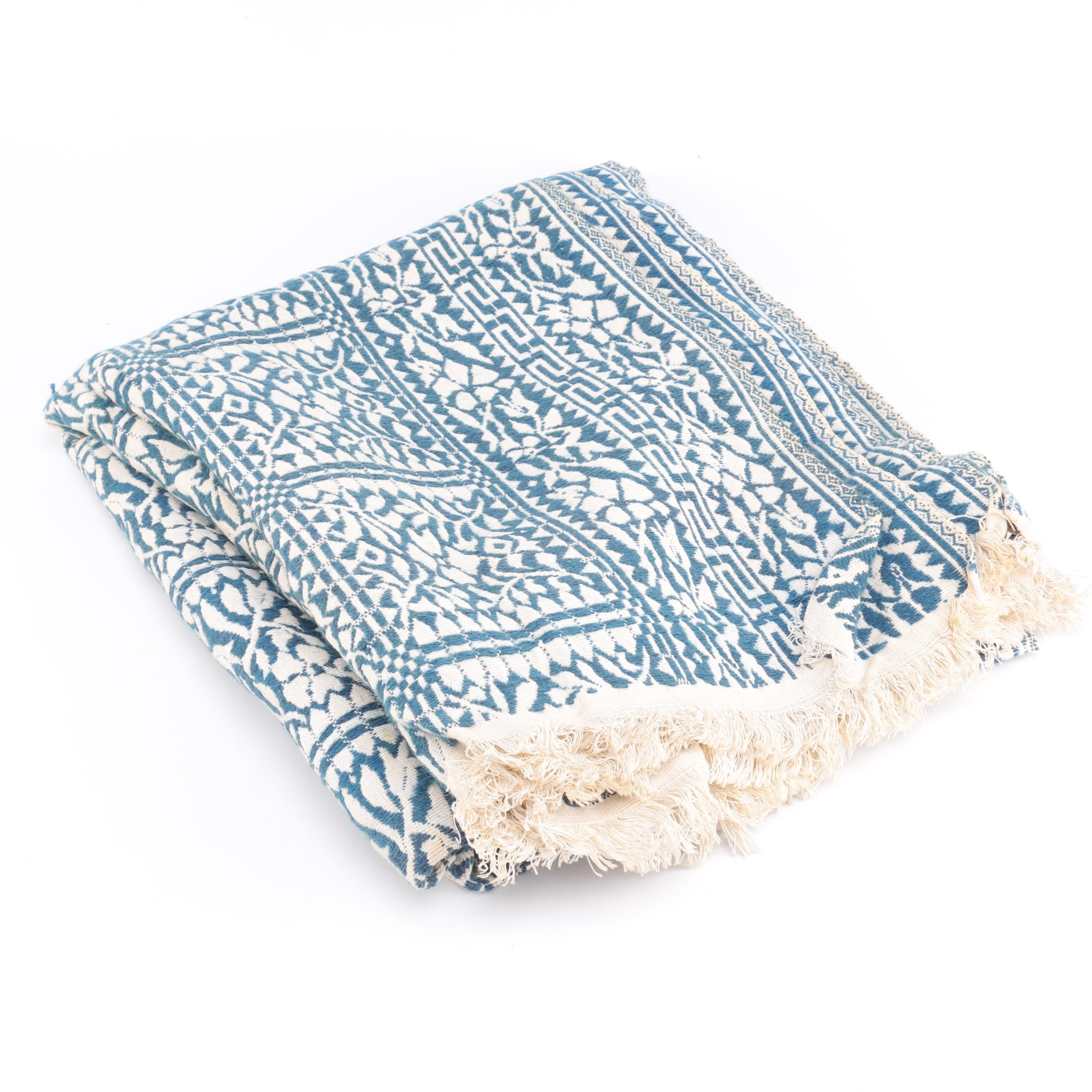 Classic Blue and White Batik Throw Blanket