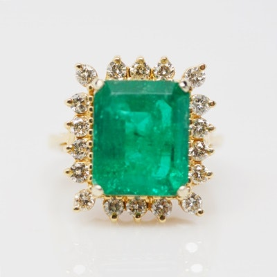 14K Yellow Gold 4.73 CTS Emerald and Diamond Ring