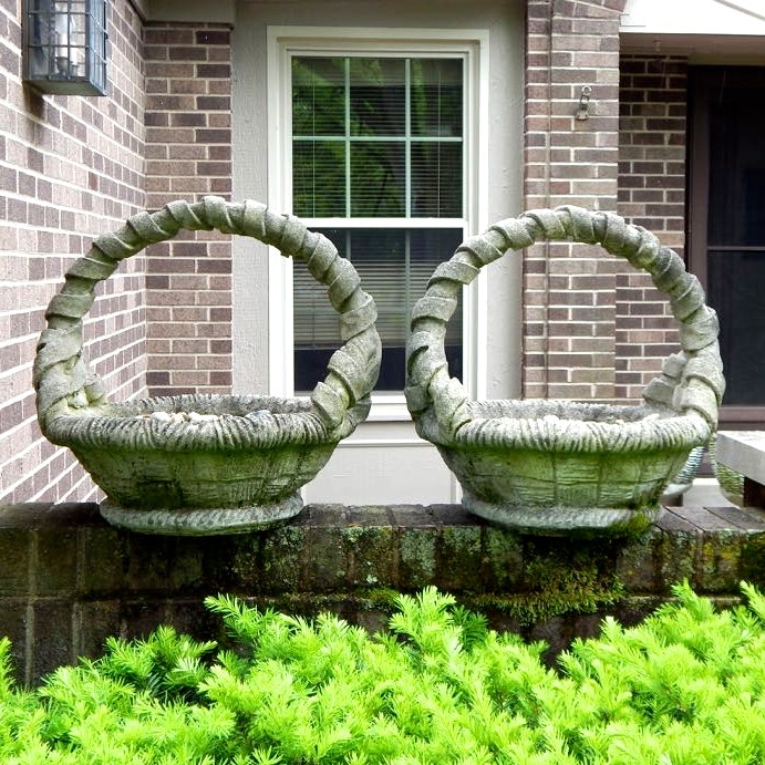 Two Cement Basket Planters