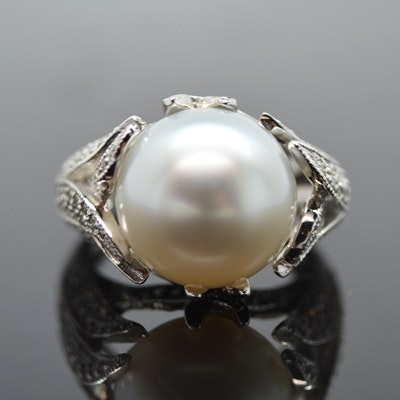 18K White Gold Cultured South Sea Pearl and Diamond Ring