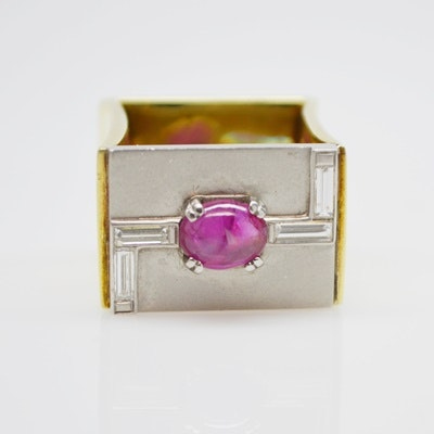 Raul Haas 14K Yellow and Platinum Ruby and Diamond Square RIng