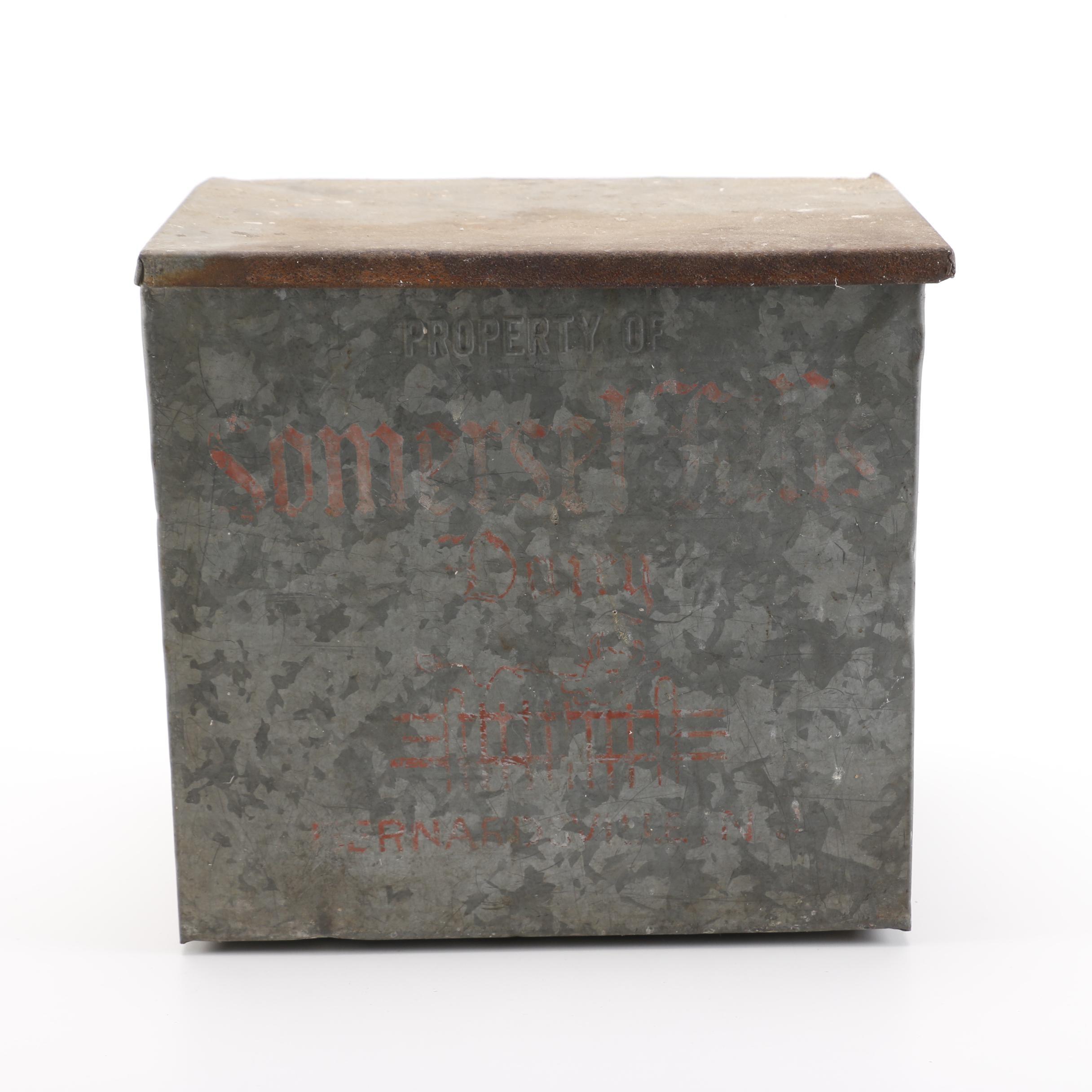 Vintage Metal Dairy Delivery Box