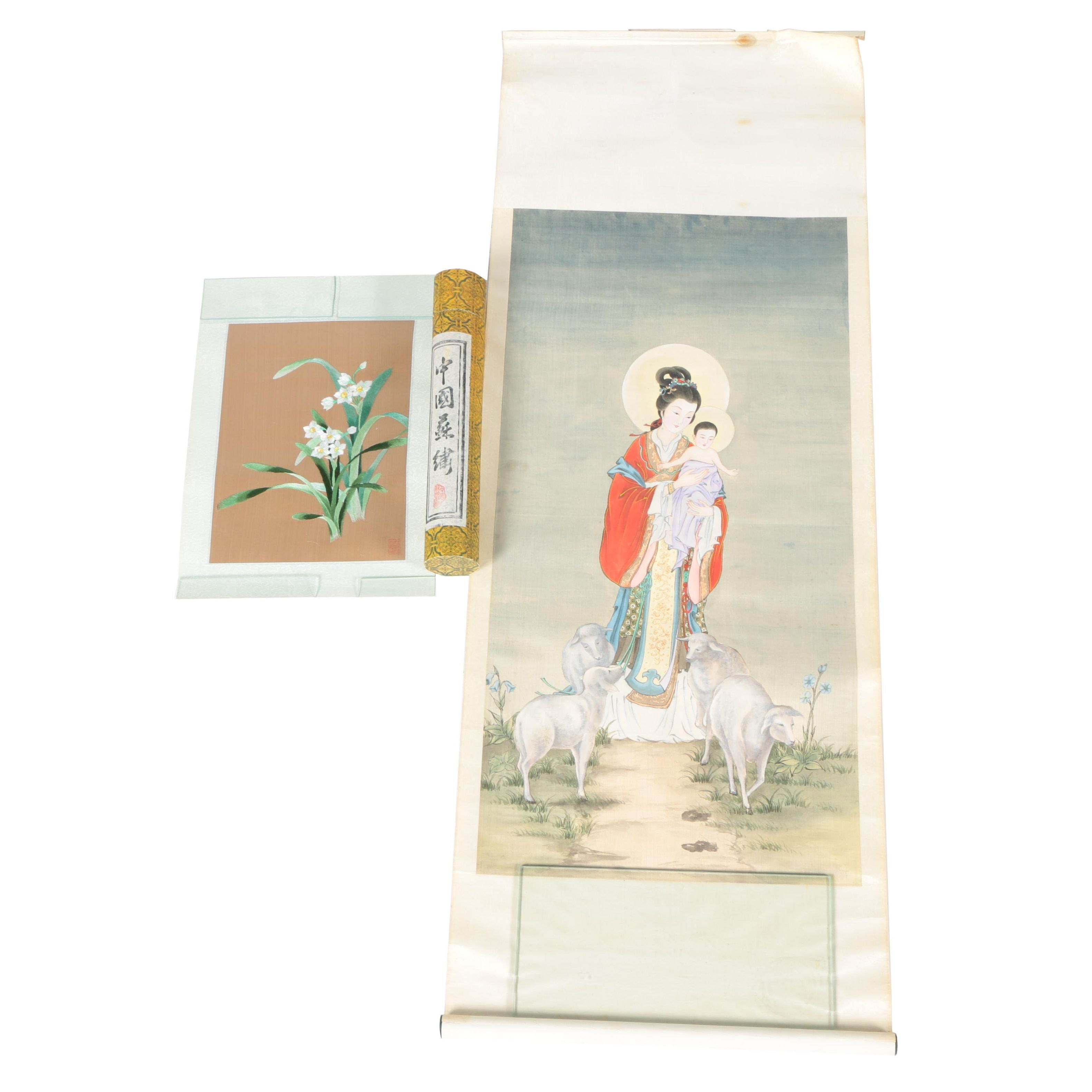 East Asian Painted and Embroidered Scrolls