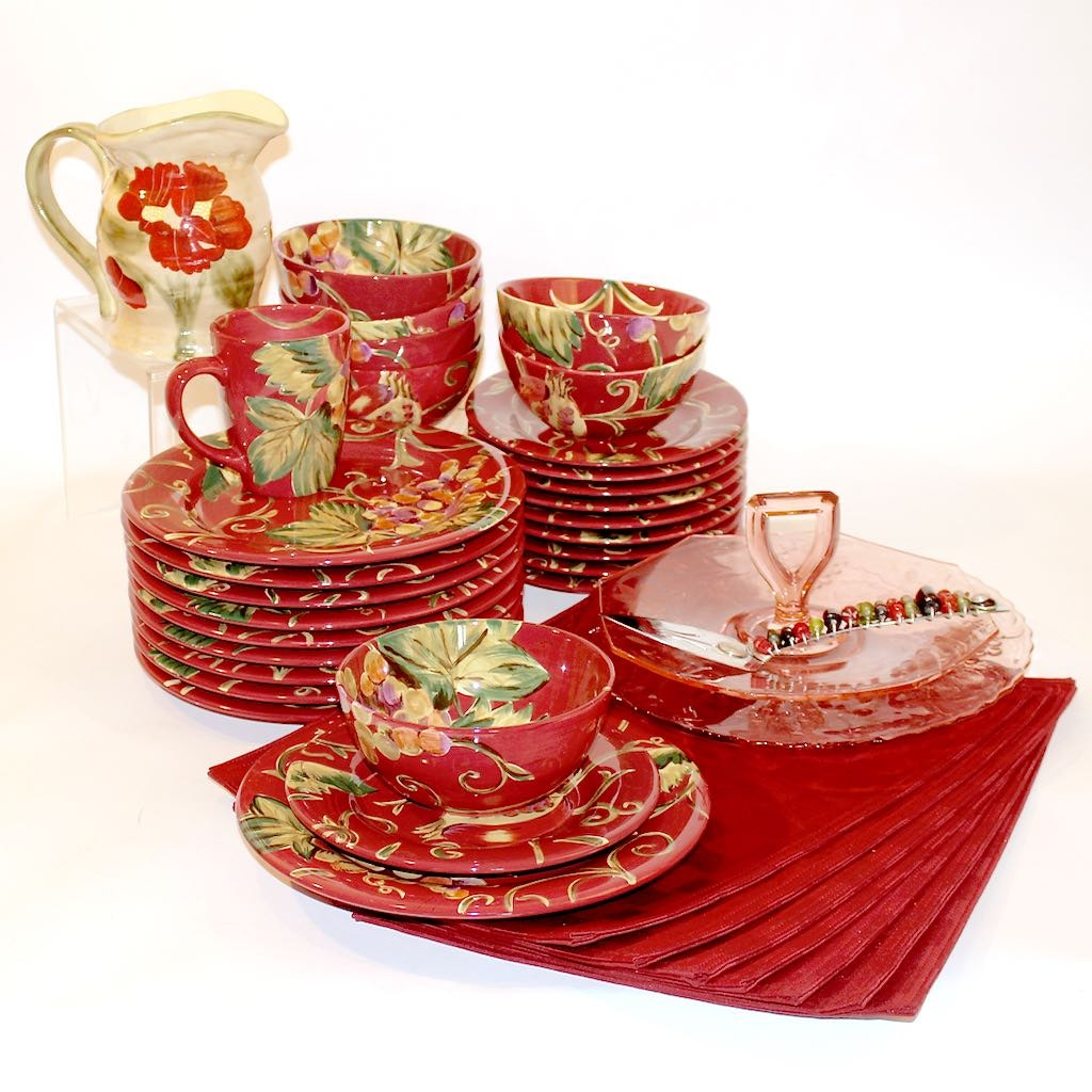 Hand Painted Tabletops Gallery Red Floral Dinnerware